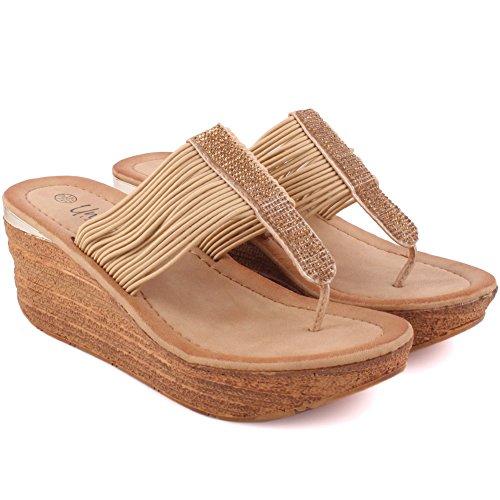 """Unze Les femmes """"Sheri"""" Diapositive dans Carnaval de plage ouvert Toe occasionnels pantoufles UK Size 3-8 Beige"""