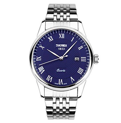 SHOUBIAO® Reloj Hombres De Cuarzo Plexiglás Espejo A Prueba De Arañazos Calendario Impermeable Banda De Acero Relojes , Blue