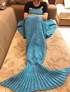 Le-Dafei Handmade Maglia Sirena coda coperta trapunta calda divano salotto, per adulti e bambini, 190x 90cm & # xFF08; 190x 89,9cm) Adult Blue