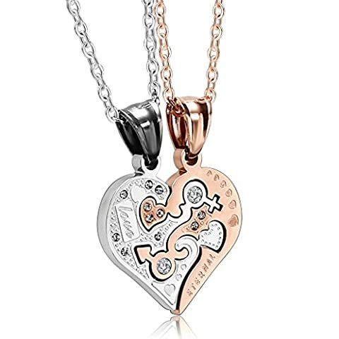 AnaZoz Fashion Jewelry Stainless Steel Men,Women'S 2 Pcs Couple CZ Heart His And Hers Silver Rose Gold Pendant
