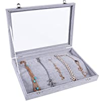 Meshela Glass Necklace Display Storage Tray Jewellery Organiser Box Case
