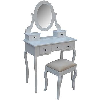 newest 8ee27 f72b9 Homegear Parisian Dressing Table, Mirror & Stool Set/5 Drawer Vanity Makeup  Desk
