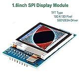 Innovateking-EU Arduino I2C OLED LCD-Anzeigen-Modul Arduino LCD TFT-Anzeige, 1.6 Zoll SPI LCD-Bildschirm, Treiber 3.3V / 5V 130x130 SSD1283A, für Arduino D1 Mini
