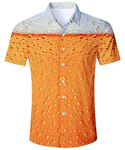 TUONROAD Shirt Herren Funny Bier Shirt 3D Gedruckt Muster Bunte Funky Shirt Hemd Herren Kurzarm Sommerhemd Button Down Gelb Freizeithemden Strandhemd Hawaii Hemd Männer Jungen M -