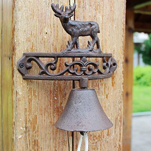 CKH Retro Nostalgische Schmiedeeisen Elch Türklingel Gusseisen Glocken Amerikanischen Land Garten Manuelle Garten Haustür Glocke