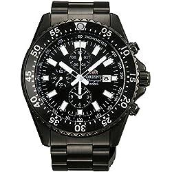 Orient Captain Quartz Sport Chronograph mit Schwarz PVD Fall und Armband tt11001b