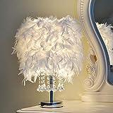 XDLUK Lampada da Tavolo in Piuma Bianca Creativa Moderna Lampada da Comodino Camera da Letto Sfera di Cristallo Illuminazione Decorativa per Sala da Pranzo Princess Room (1pc)