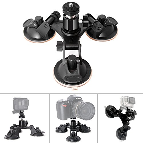 Fantaseal® Super Tri-Cup Camera Suction Mount DSLR Camera Action Cam Camcorder Car Mount Glass Mount Window Mount Car Support Holder Compatible for GoPro Suction Mount GoPro Holder Mount w/ Camera Ball Head Tripod Mount Compatible for GoPro Hero 7/6/ 5/ 4 /3+/3/ Session / SJCAM SJ4000 / SONY HDR AS-10 AS-15 AS-20 AS-30 AS-50 AS-100 AS-200 AZ-1 FDR-X1000VR / Garmin Virb XE etc + Nikon Canon Sony Pentax Olympus Panasonics Lumix Ricoh Kodak Casio etc DSLR Camera / Camcorder