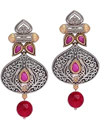 Trijya Exports Designer Floral Shape Silver Dual Tone Oxidised Earring With Ruby Color Stone & Red Drop Beads...