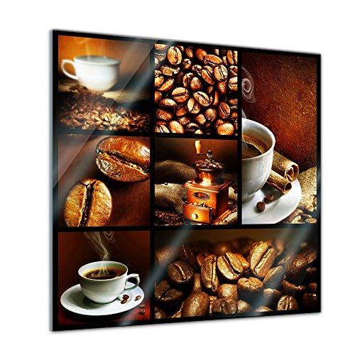 Glasbild - Kaffee Collage II - 50x50 cm - Deko Glas - Wandbild aus Glas - Bild auf Glas - Moderne Glasbilder - Glasfoto - Echtglas - kein Acryl - Handmade