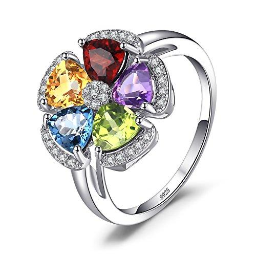 JewelryPalace 2.6ct Echter Edelstein Swiss Blau Topaz Amethyst Citrin Granat Peridot Ring 925 Sterling Silber