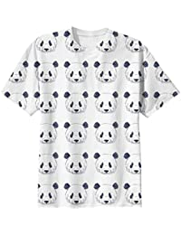 Snoogg Cute Panda Black And White Pattern Mens Casual All Over Printed T Shirts Tees