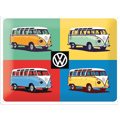 Nostalgic-Art 63327 Volkswagen – VW Four Bullis – Pop Art – Special Edition, Cartel de chapa 30 x 40 cm