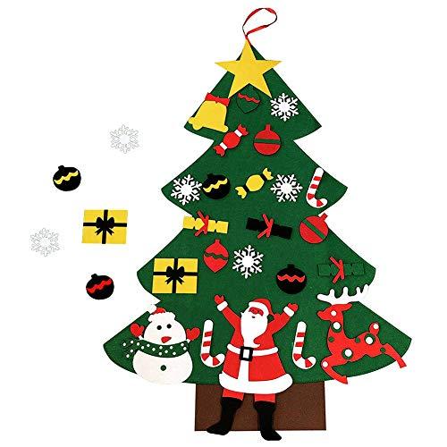 Feutre arbre de Noël,24 pièces ornements de Noël mur de...