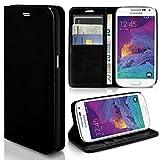 Samsung Galaxy S4 Mini | Hülle Schwarz mit Karten-Fach [OneFlow Book Klapp-Hülle] Etui Schutzhülle Handytasche Kunst-Leder Handyhülle für Samsung Galaxy S4 Mini Case Flip Cover Tasche
