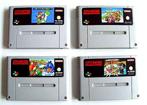 SNES - Super Mario SpieleSet (Super Mario Kart, Super Mario World, Super Mario Allstars, Yoshis Island)