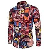 Tops Langarmhemd Business Herren Slim Fit Shirt Druck Bluse Große Größe Männer Langarm-Laufsteg Print-Shirt