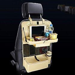 iacon Auto asiento trasero Organizador con calefacción, se puede llano Saco para Baby PU piel iPad Mini soporte, protector de respaldo Auto Organizador, bolsa pedalada Matte Viaje (Champán Oro)