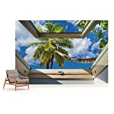 Tropischer Strand 3D-Dachfenster-Ansicht Fototapete Fotomural - Wandbild - Tapete - 368cm x 280cm / 4 Teilig - Gedrückt auf 115gsm Muralpapier - 10414P10 - Tropisch Vergleich