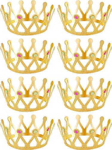 8 Stücke Goldene Krone Königliche Königin Krone König und Königin Prinzessin Kopfbedeckung Juwelenbesetztes Kostüm Zubehör