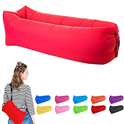 Inflatable Lounger Couch, Air Sleeping Beds with A Carrying Bag, Portable Waterproof Durable Nylon Fabric Lazy Bag Sofa for Camping, Beach, Park, Backyard, Traveling - low-cost UK light shop.
