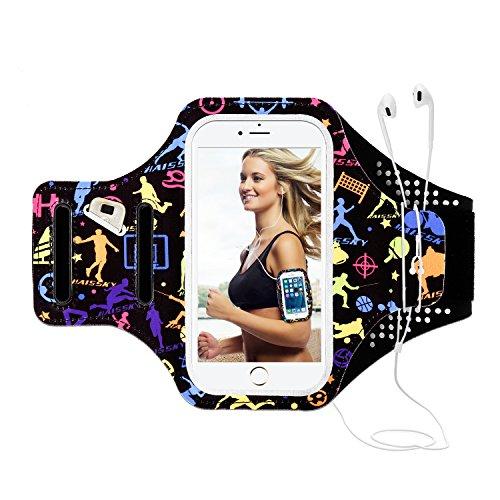 Sport Armband Cellphone Case für iPhone 8/7/6/6S Plus, iPhone 8/7/6, GalaxyS7/S6/S5 bis 5,5 inch, Running Armband mit reflektierenden Armband, Key and Card Tasche, ideal für Übung, Gym, Joggen