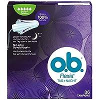 o.b. Flexia Tag+Nacht Super+ Comfort Tampons für extra Schutz gegen Vorbeilaufen und Verrutschen am Tag oder in der Nacht – Mit einzigartigen SilkTouch Schutzflügeln – 36er Pack