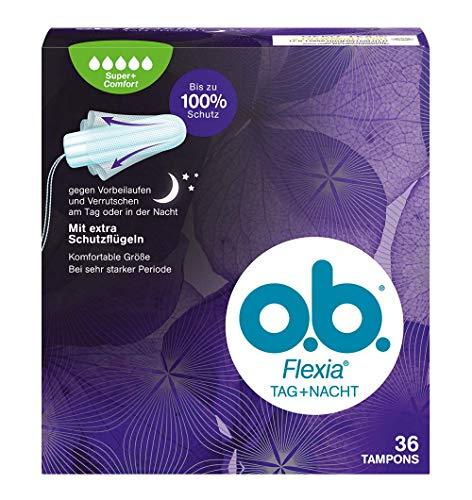 o.b. Flexia Tag+Nacht Super+ Comfort Tampons für extra Schutz gegen Vorbeilaufen und Verrutschen am Tag oder in der Nacht - Mit einzigartigen SilkTouch Schutzflügeln - 36er Pack - Über Nacht Zusätzlichen Schutz