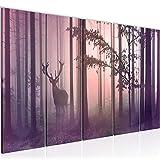 Bilder Wald Hirsch Wandbild 150 x 60 cm Vlies - Leinwand Bild XXL Format Wandbilder Wohnzimmer Wohnung Deko Kunstdrucke Pink 5 Teilig - MADE IN GERMANY - Fertig zum Aufhängen 013456b