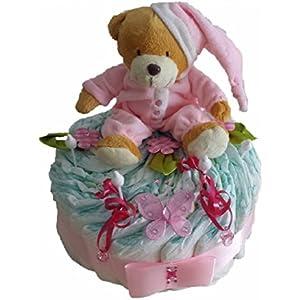 Windeltorte rosa, Geschenk zum Geburt, Taufe, Babyparty Mädchen, Windeln