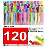 laneco 120Färben Gel Stifte Set inkl. 60farbig Gel Stifte Plus 60Tinte Minen, perfekt für Erwachsene Färben Buc
