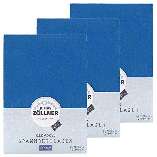 Zöllner Spannbetttuch Jersey 70x140 / 60x120 Blau 3er Pack