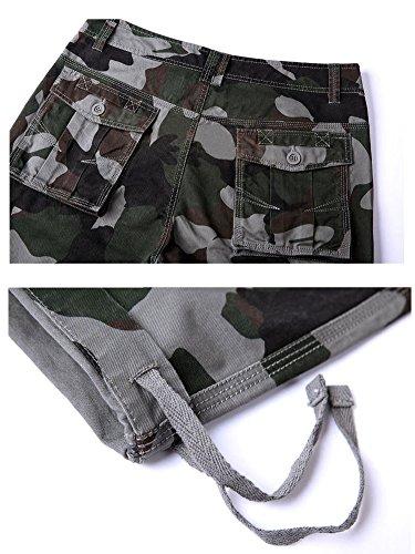 Pantalone da uomo Casual Pantaloni cargo con tasconi Militare Pantaloni Lunghi Verde Grigio