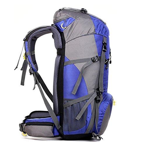 YAAGLE unisex 50L Outdoor wasserdichter Rücksack große Kapazität Reisetasche multifunctional Bergsteigen Tasche bequemliches Camping-Paket blau
