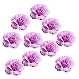 MagiDeal 10 Stück Kunstblume Deko Künstliche Blumen Kunstpflanze Blumenstrauß Rose/Orchidee - Rose Lila, 5 cm