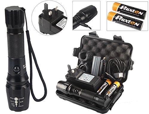 phixton USB Batería LED linterna 1800lm CREE XM L2linterna ajustable...