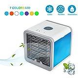 Premewish Mini Luftkühler,3 in 1 Raumluftkühler,Luftbefeuchter und Luftreiniger mit 3 Kühlstufen 7 Farben LED Stimmungslichter Mobile Klimageräte ohne Abluftschlauch für Büro,Haus und Auto
