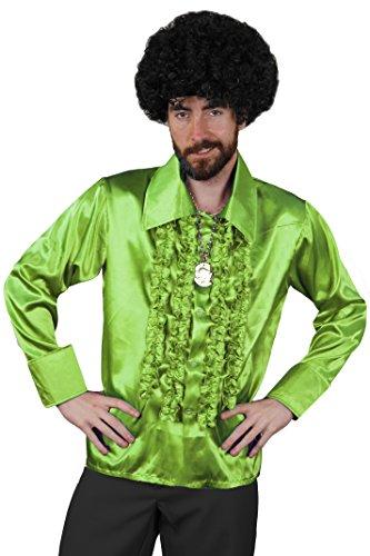 Une superbe chemise verte clair à jabot style Disco 80's de qualité pour adulte. Idéal pour les enterrements de vie de garçon ou de jeune fille.