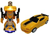 #7: Car Transforms into Robot Car Toys for Children Bump and Go Action with Lights and Sounds