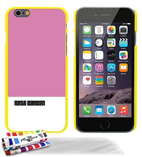 Coque rigide Ultra-Slim APPLE IPHONE 6 4.7 POUCES  au motif exclusif [Rose bonbon] [Bleue] de MUZZANO + STYLET et CHIFFON MUZZANO® OFFERTS - La Protection Anti-rayure ULTIME, ELEGANTE ET DURABLE pour  Jaune + 3 Films de Protection Ecran