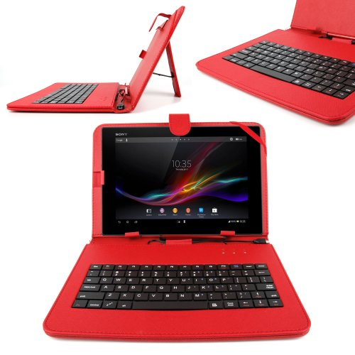 DURAGADGET Durable Red Case With Micro USB Keyboard + Stylus Pen For Use With Hannspree Hannspad & Thalia Tablet PC 4, By