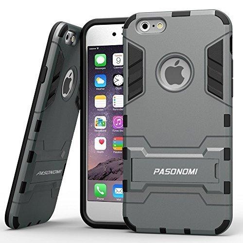 iPhone 6S Hülle, Pasonomi® [Outdoor] [Heavy Duty] [Dual Layer] Ultra-dünne Schutzhülle Case Cover mit Ständer für Apple iPhone 6 (2014) / iPhone 6S (2015) (Kickstand-Schwarz) Kickstand-Graue
