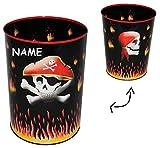 Unbekannt Papierkorb Pirat Totenkopf - Metall - incl. Name - Mülleimer Eimer - Schatztruhe / Abfallbehälter / Abfalleimer Kinderzimmer - Piraten Seefahrer - Aufbewahrungsbox für Kinder Jungen