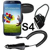 Original q1 Sarter Set 3in1 für Samsung Galaxy S4 i9500 / Galaxy S4 LTE i9505 Halter Kfz Halterung 360 grad drehbar Halter Autohalterung + Bluetooth Headset + Kfz Ladekabel Ladegerät