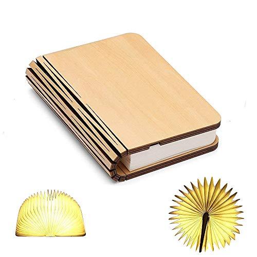 Holz Buch Lampe, Mini Folding Buch Licht magnetische USB wiederaufladbare 880mAh Lithium-Batterien LED Schreibtisch Tischlampe für Dekor, Jubiläum oder Valentinstag Geschenk für ihr warmes Weiß -