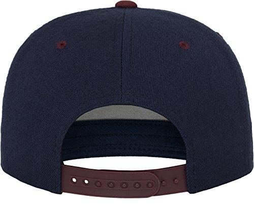 Yupoong Flexfit Unisex Kappe Classic Snapback 2-Tone, zweifarbige blanko Cap mit geradem Schirm, One Size Einheitsgröße für Männer und Frauen, Farbe nvy/maroon - 2