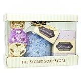 Badeset! 3-tlg Geschenkset, Pflegeset - Natur Kosmetik: Badesalz mit Lavendel (500 g) und Naturseife Lavendel (250 g) mit einem Natur-Badeschwamm