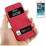Rocina Cowhide Style Tasche für Apple iPhone 5 / 5S Handytasche in pink mit Anrufanzeige