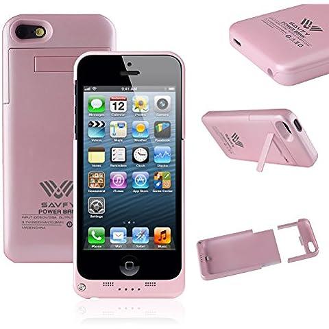 Funda Batería iphone 5 / 5s , SAVFY® Case carcasa Con Batería Cargador-batería Externa Recargable 2200mAh Para iPhone 5 / 5s (Rosado)