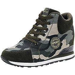 POLP Calzado Zapatos Mujer Cuña Deportivos Zapatillas Running para Mujer Aire Libre Deporte Transpirables Zapatos Gimnasio Correr Sneakers Verde Plataforma Casual Camuflaje 35-42